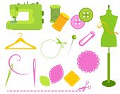 Sewing accessories,needle and thread, buttons and other sewing icons.