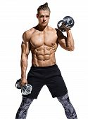 Strong Man Doing Exercise With Heavy Weight Dumbbells. Photo Of Young Man With Naked Torso And Good  poster