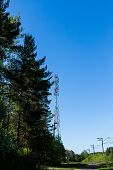 Huge Communication Antenna Tower And Satellite Dishes Against Blue Sky.telecommunications Tower Cell poster
