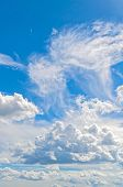 Blue Sky Background With White Beautiful Colorful Clouds In Sunny Sky. Sky Landscape Scene. Sky Land poster