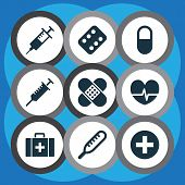 Antibiotic Icons Set With Medicament, Pulse, Stings And Other Rhythm Elements. Isolated Vector Illus poster