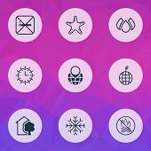 Ecology Icons Set With Nature, Globe Pointer, Snowflake And Other World Ecology Elements. Isolated V poster