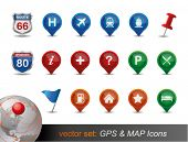 GPS e mapa Icon Set.