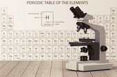 Modern Laboratory Microscope In Front Of Periodic Table Of Elements On A Wooden Table. 3d Rendering poster
