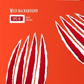 stock photo of gash  - Red traces of an animal claws on paper - JPG