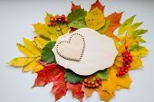 Autumn Leaves With Wooden Heart. Symbol For Loving Autumn Season. Autumn Mood. Seasonal Sales. Autum poster