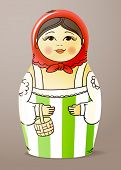 Traditional hand-drawn painted varnished colorful wood doll. Matrioska
