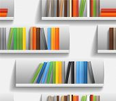 picture of book-shelf  - Seamless background of library shelves with color books - JPG