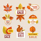 Autumn Labels At Sales. Banners With Leaves Vector Pictures. Design Of Discount Badges And Labels Fo poster