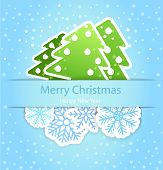 Happy new year greeting card with paper flakes and christmas trees