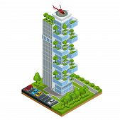 Modern Ecologic Skyscraper With Many Trees On Every Balcony. Ecology And Green Living In City, Urban poster