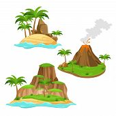 Постер, плакат: Vector Illustration Of Three Different Islands On White Background In Cartoon Style Islands With Vo
