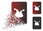 Joker Gambling Card Icon In Sparkle, Pixelated Halftone And Undamaged Whole Versions. Particles Are  poster