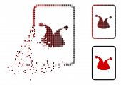 Joker Gambling Card Icon In Dispersed, Pixelated Halftone And Undamaged Solid Variants. Pixels Are C poster