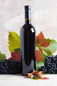 Bottle Of Red Mulled Wine Mockup For Your Logotype. Red Grapes, Spices Cinnamon,    Anise, Cloves, G poster