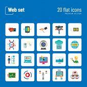 Web Icon Set. Internet Data Flow Web Camera Online Recruitment Server Man With Megaphone Strategic C poster