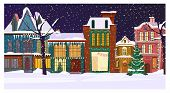 Winter Night Townscape With Houses And Decorated Fir-tree. Night Town Scene Vector Illustration. Chr poster