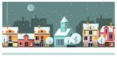 Winter Night Townscape With Houses And Moon Vector Illustration. Night Town Scene. Night Townscape C poster
