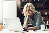 Young Smiling Beautiful Woman Using Laptop At Home. Portrait Of Young Attractive Girl Serfing Intern poster