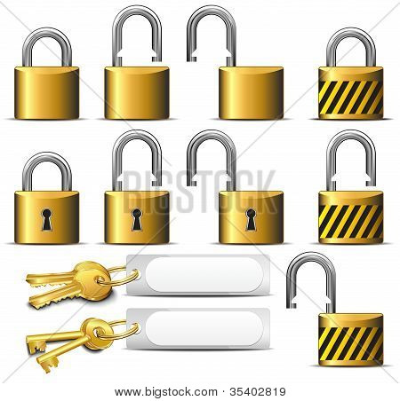 Padlock And Key - A Set Of Padlocks And Keys In Brass