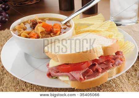Pastrami Sandwich With Vegetable Beef Soup