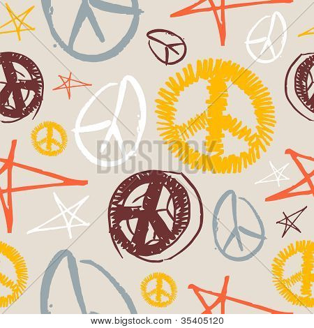 Peace Symbols Seamless Background