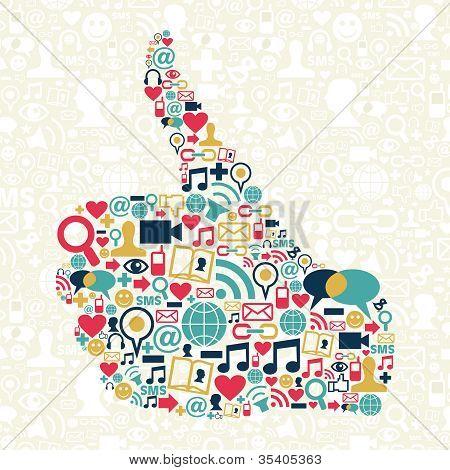 Pulgar para arriba de la textura de los iconos de redes sociales