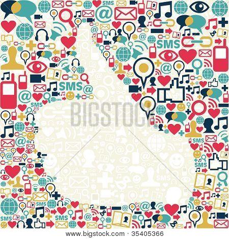 Thumb Up Social Media Icons Texture