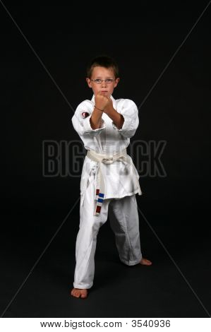 Boy In Traditional Karate Stance