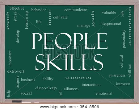 People Skills Word Cloud Concept On A Blackboard