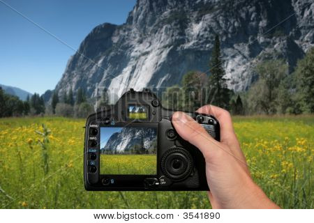 Tourist Taking A Landscape Photograph