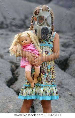A Little Girl With Gas Mask