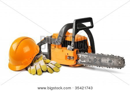 Chain Saw And Safety Gear