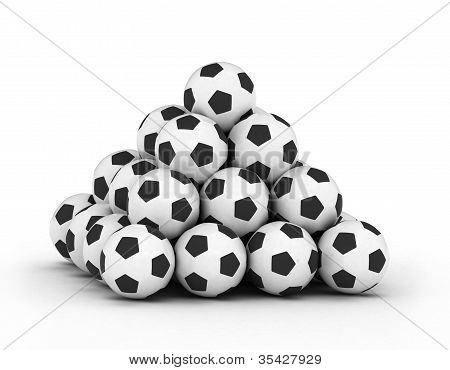 Stack of piled up football soccer balls
