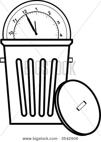 Garbage Can With Lid And Clock.