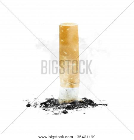 Quit Smoking With Stubbed Out Cigarette On White