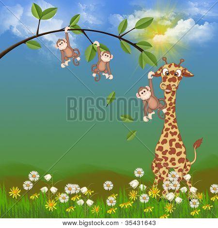 giraffe with cute monkeys