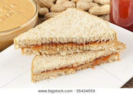 Homemade Peanut Butter And Jelly Sandwich