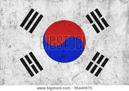 Grunge Dirty And Weathered South Korean Flag