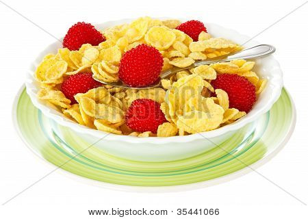 Bowl Of Corn Flakes With Berries