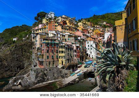 Harbor view in Riomaggiore Cinque Terre Italy
