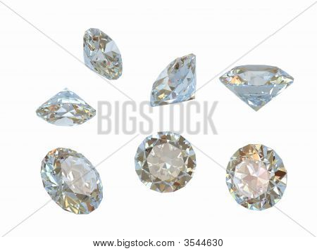 Different Forms Of Diamond. Isolated On White.