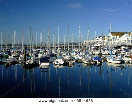 Yachts Moored At Ocean Village, Southampton