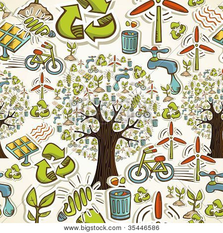 Go Green Icons Seamless Pattern