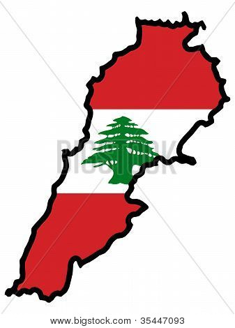 map with flag of Lebanon