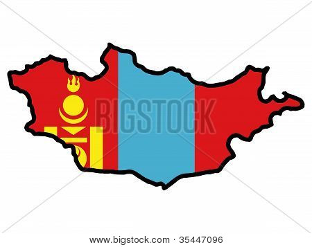 map with flag of Mongolia