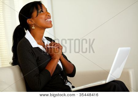 Beautiful Business Woman On Black Suit And Smiling