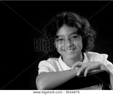 Lovely Smart Schoolgirl On Black Background