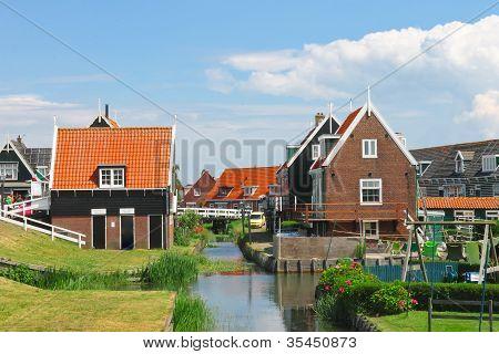 Rural Street On The Island Marken. Netherlands
