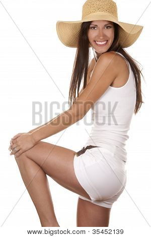 Mujer en ropa de playa